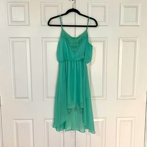Poetry Teal High Low Crochet Chiffon Dress
